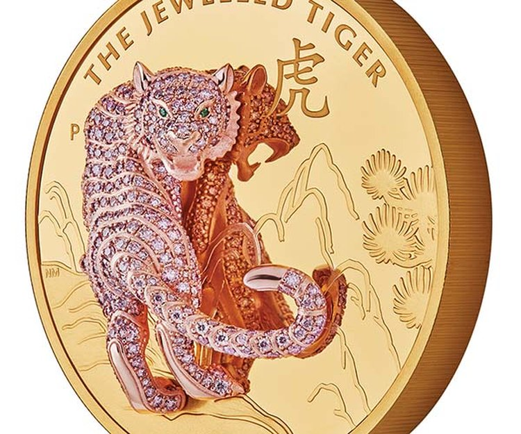 'The Jewelled Tiger' Is Immortalized in Pink Diamonds on The Perth Mint's 3D Coin