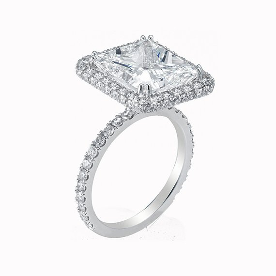 Radiant Cut Diamond with Double Sided Halo and Single Shank- Design 113