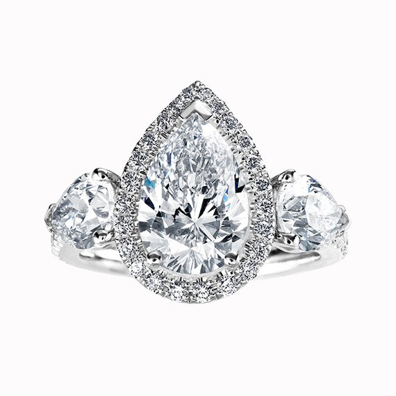 Three Stone Pear Shape Ring with Halo Center and Single Shank- Design 114