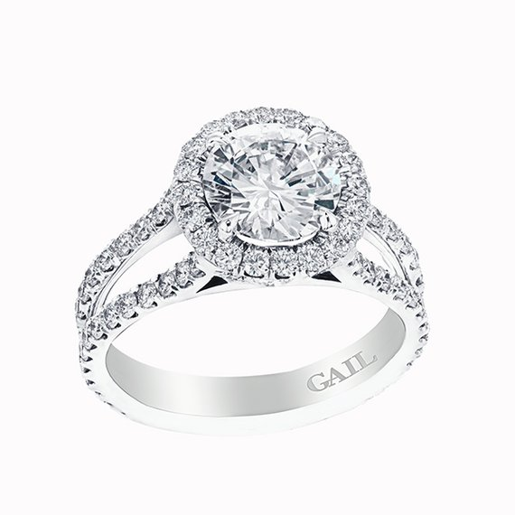 Round Brilliant Diamond with Halo and Double Shank- Design 115