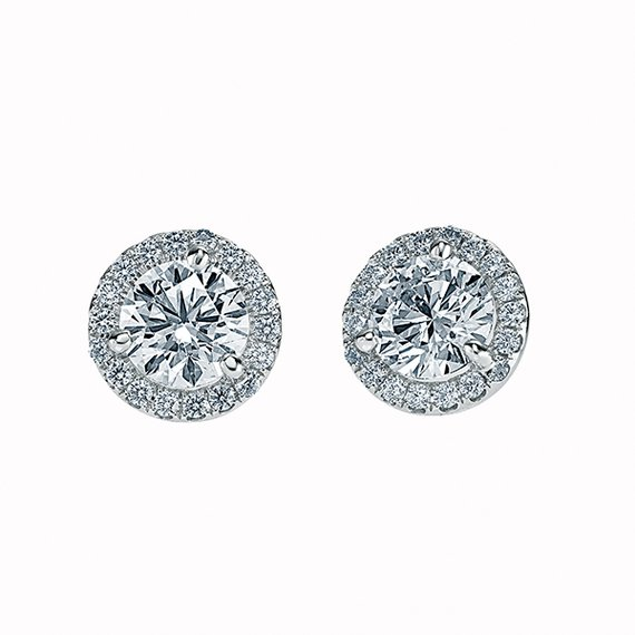 Round Brilliant Stud Earrings with Halo- Design 118